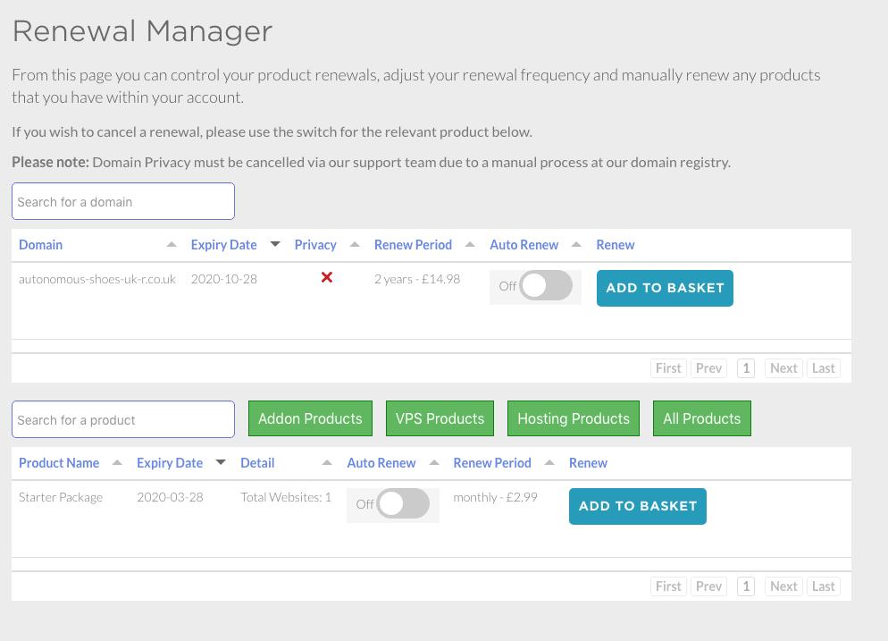 Eco Web Hosting renewal manager