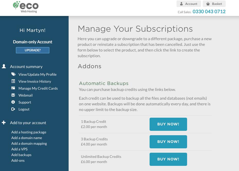 Eco Web Hosting backup options