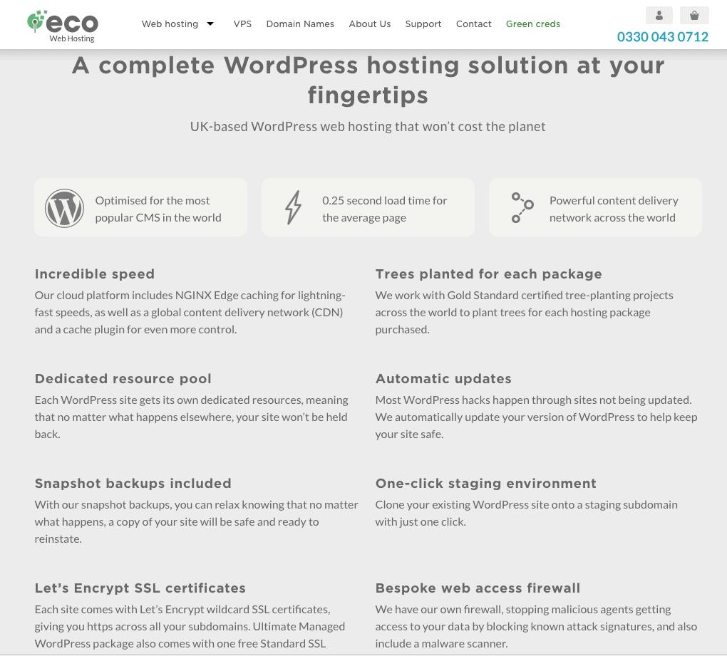 Eco Web Hosting Managed WordPress plans