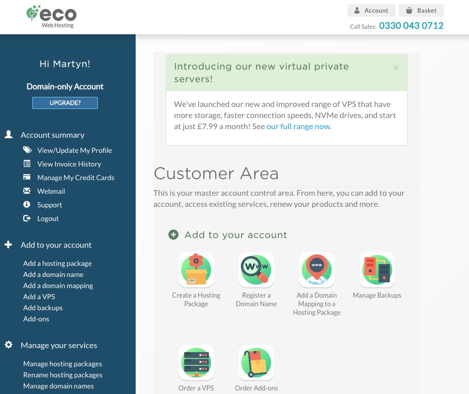 Eco Web Hosting dashboard