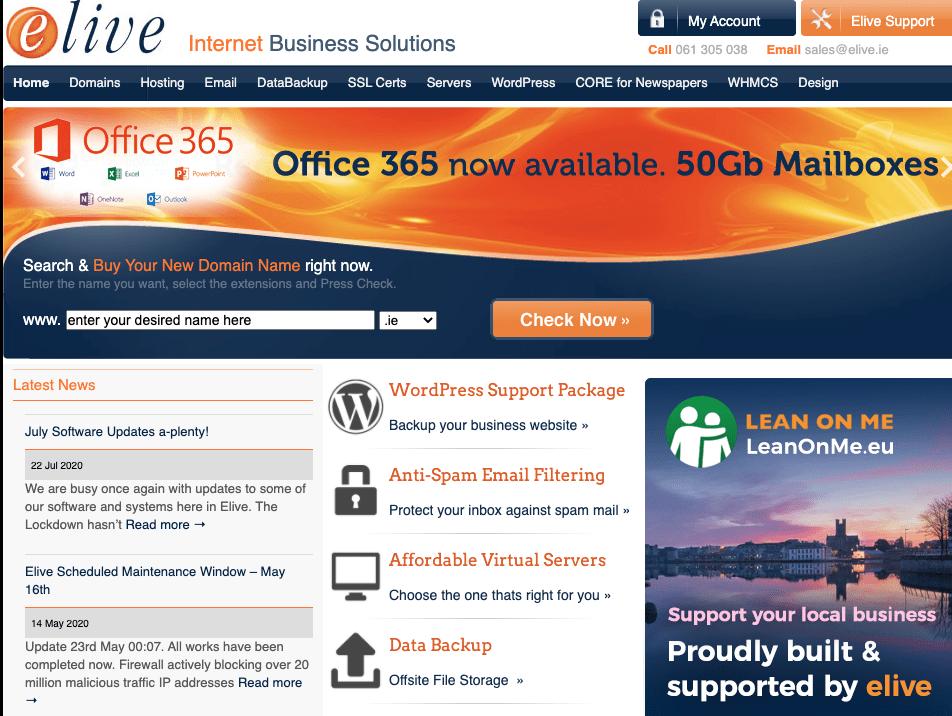 Elive web hosting homepage