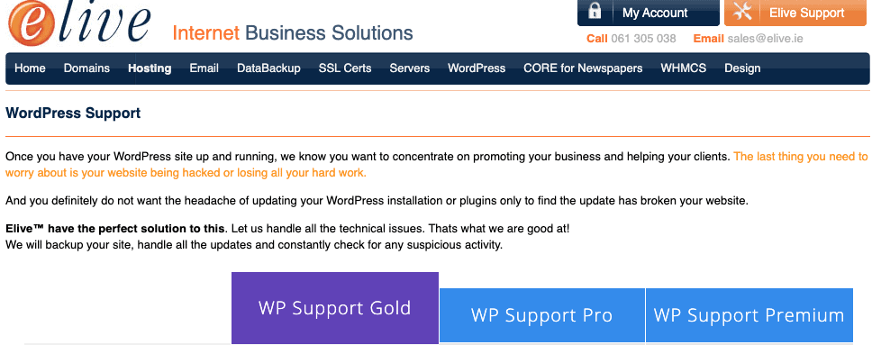 WordPress Support from Elive