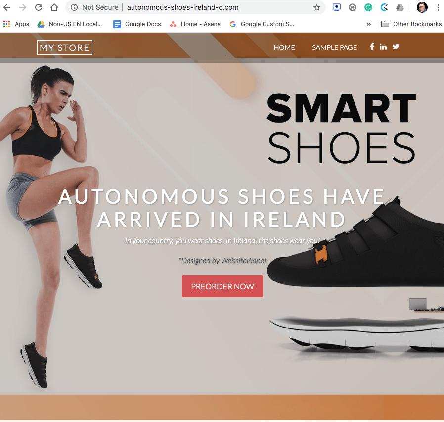 Test website homepage