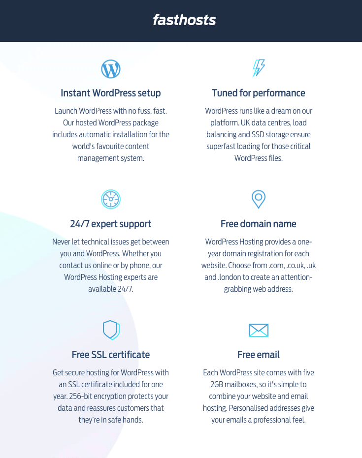 Fasthosts' WordPress Hosting features