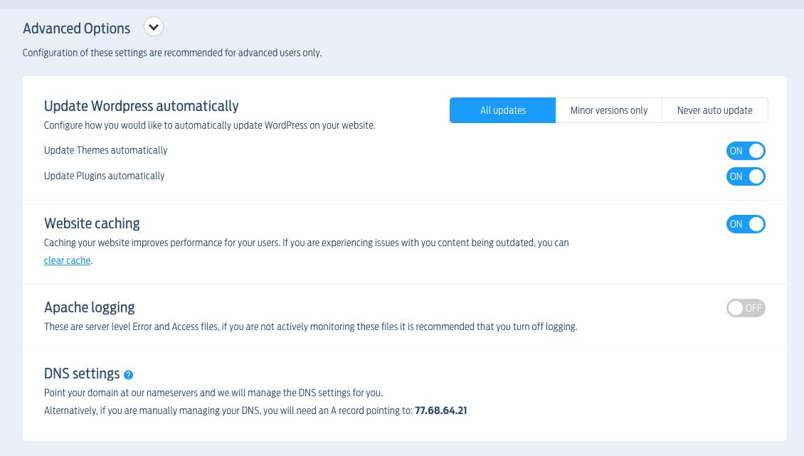 Fasthosts' advanced WordPress settings