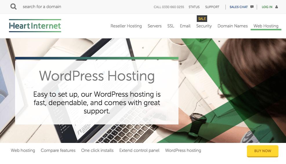 Heart Internet's homepage