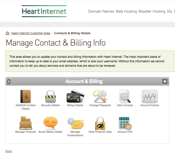 Heart Internet's Account Dashboard is not very intuitive