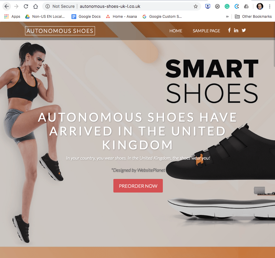 The homepage before I closed down the account