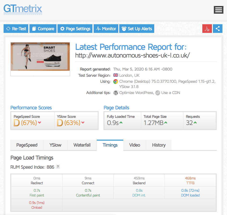 Performance tests in GTmetrix