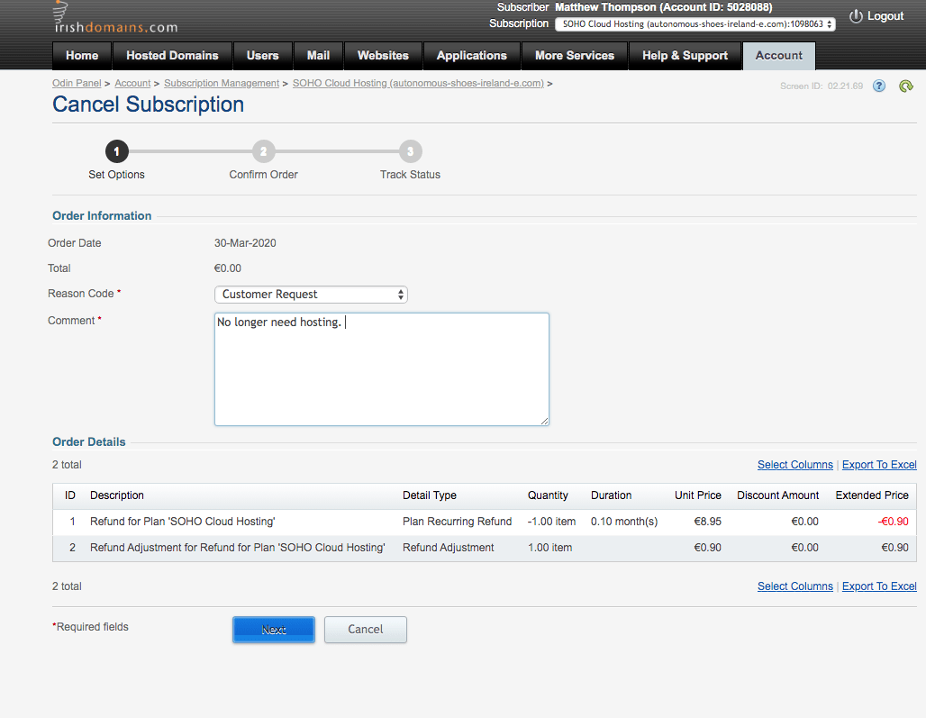 Cancelling account with Irish Domains