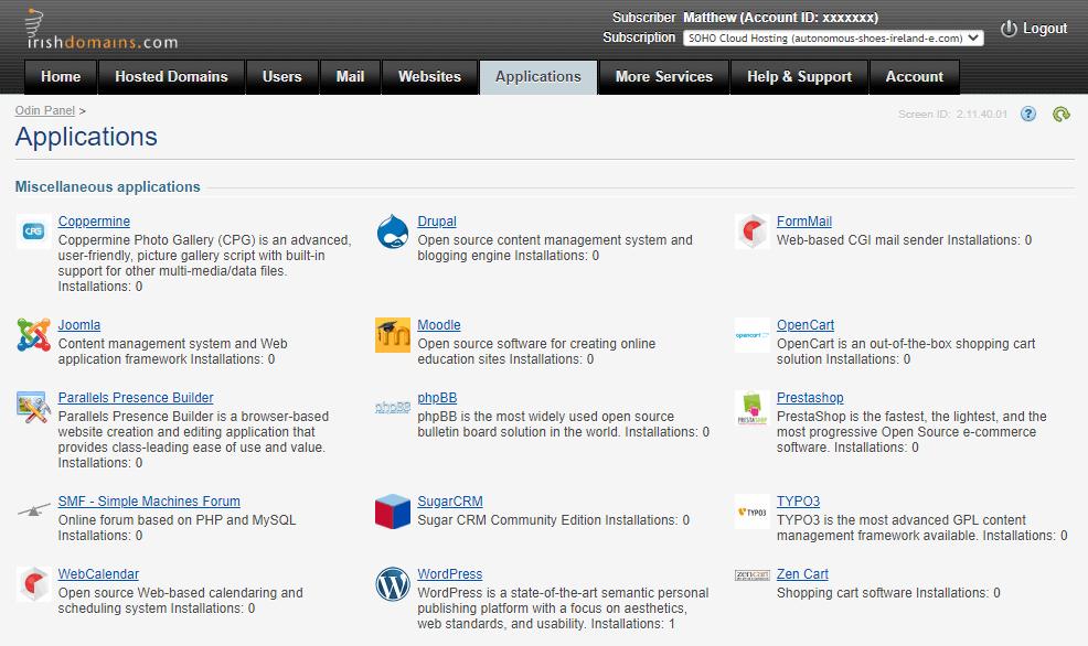 Irish Domains Applications tab