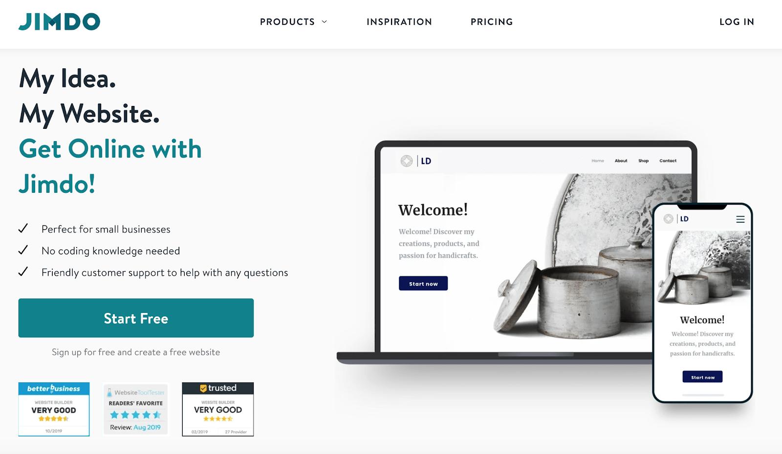 Jimdo website builder homepage