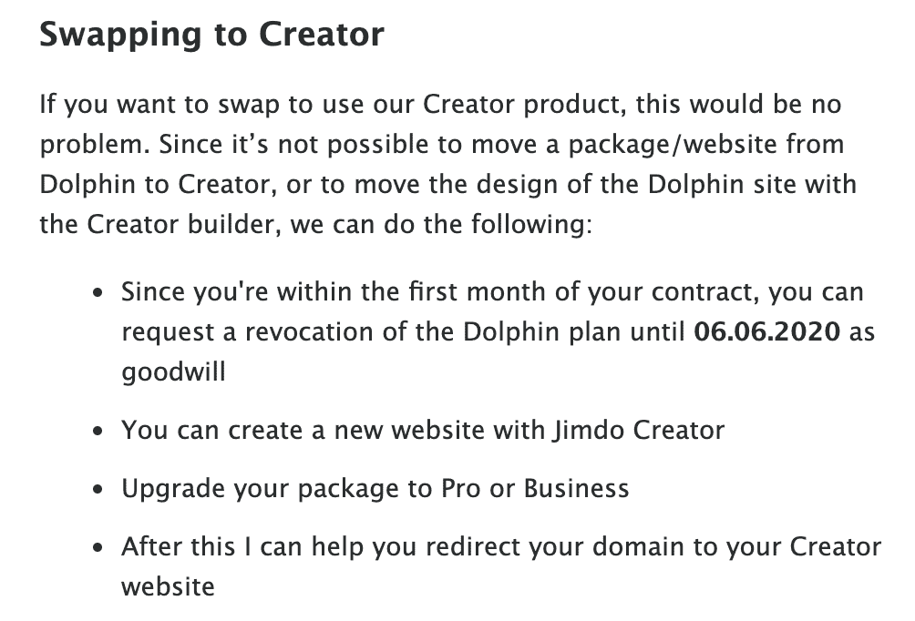 Jimdo support email response