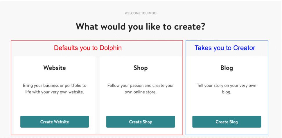 Jimdo Creator vs Dolphin decision screen