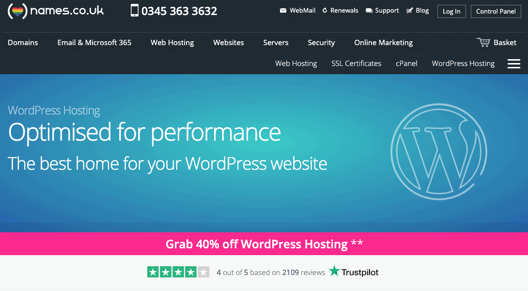 Names.co.uk claims to be best for WordPress