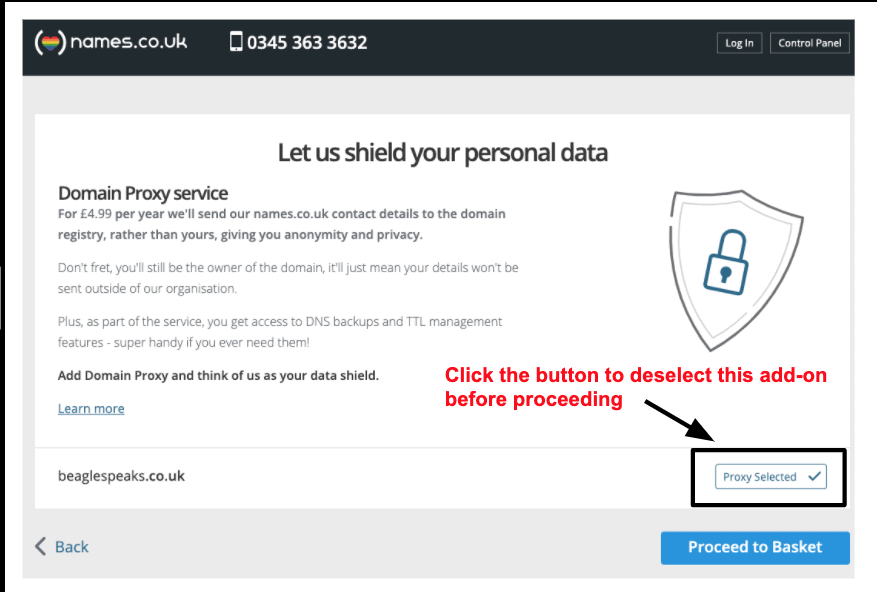 Names.co.uk will automatically add domain privacy unless you remove it