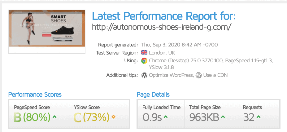 GTmetrix scores for OVHcloud
