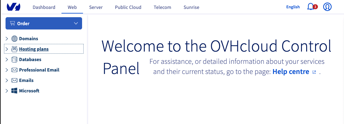 OVHcloud control panel desktop version