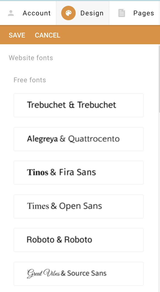 SimpleSite font pair choices