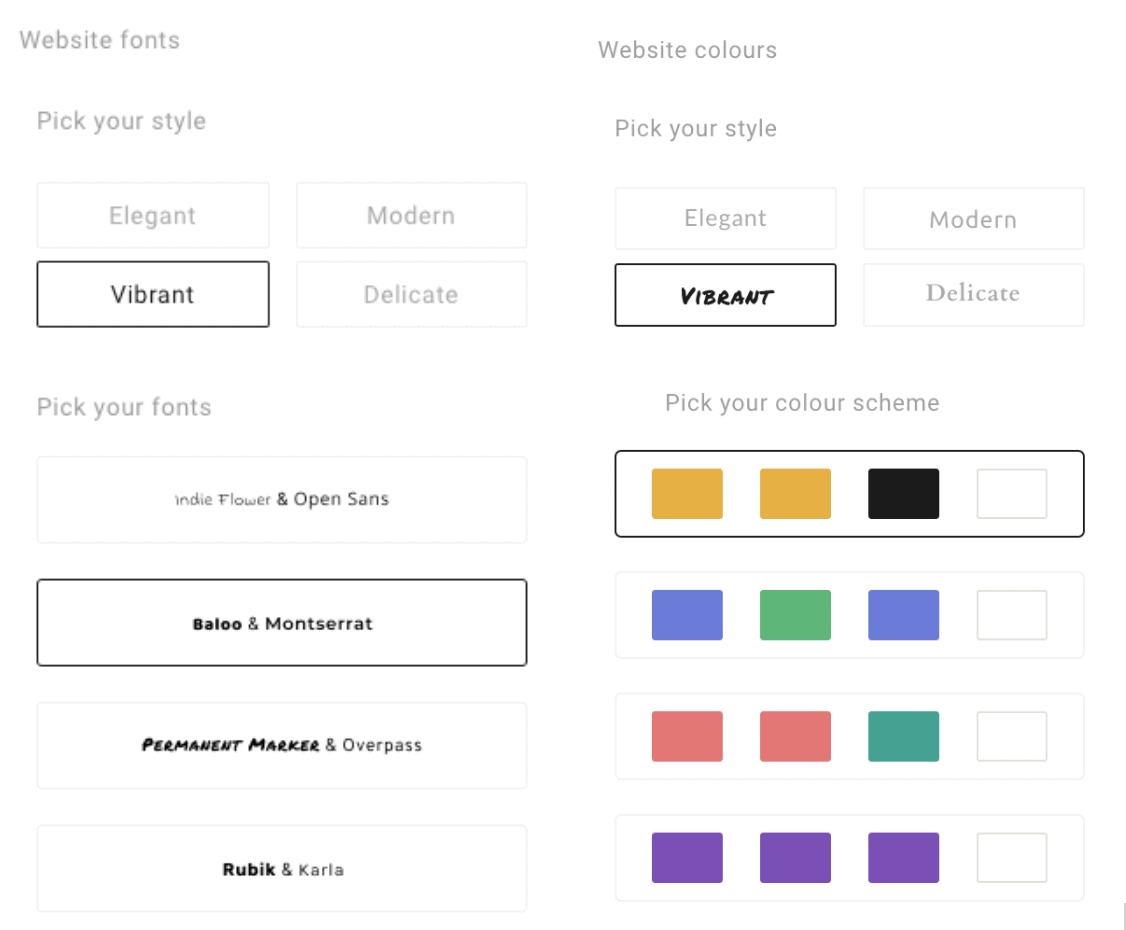 Font and color options by style - Simple Site