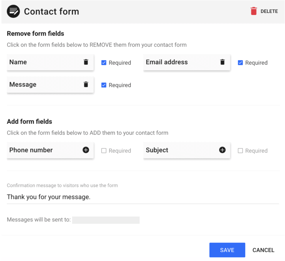 Customizable contact form options - SimpleSite