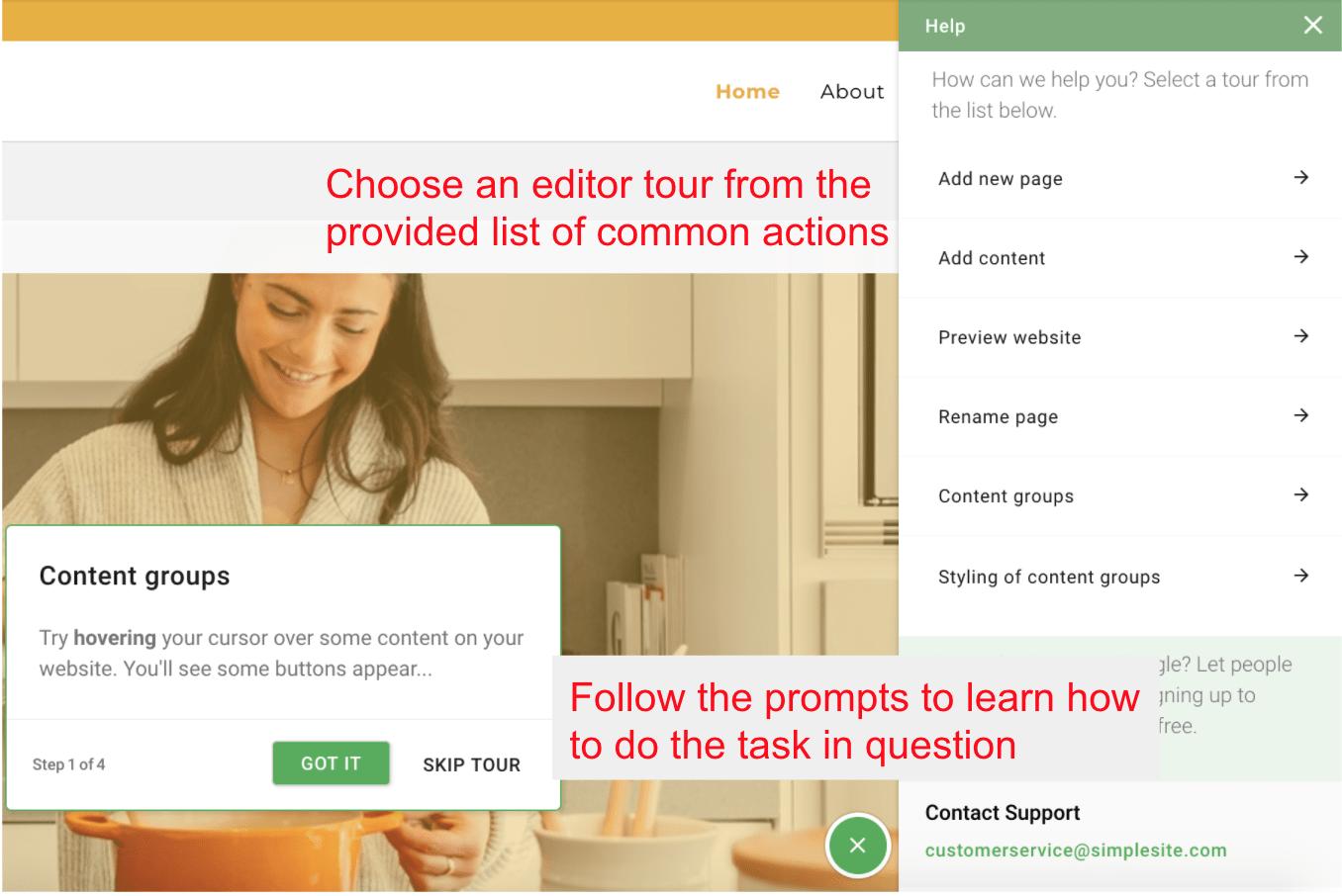 Help tutorials menu - SimpleSite