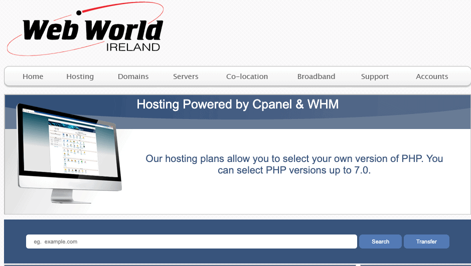 Web World hosting packages