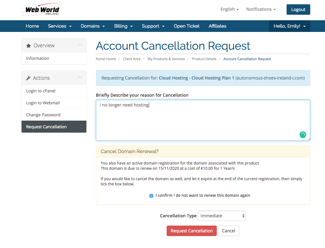 Web World Cancellations