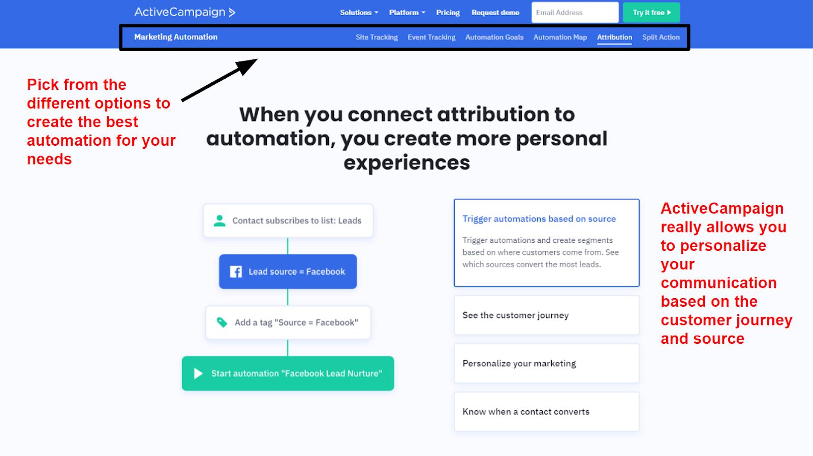 ActiveCampaign - automation options