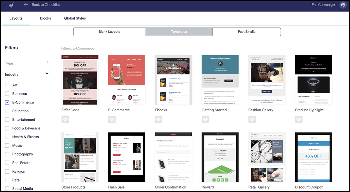 Benchmark e-commerce email templates