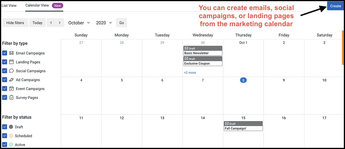 Constant Contact marketing calendar