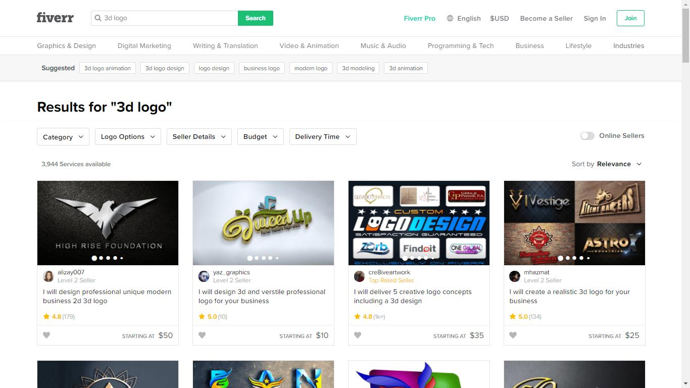 Fiverr screenshot - 3D logo designers
