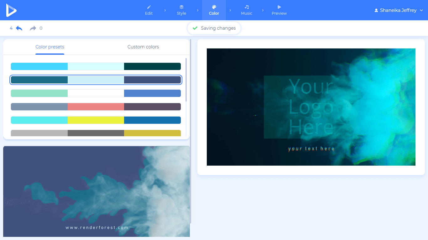 Renderforest screenshot - Logo editor color tab