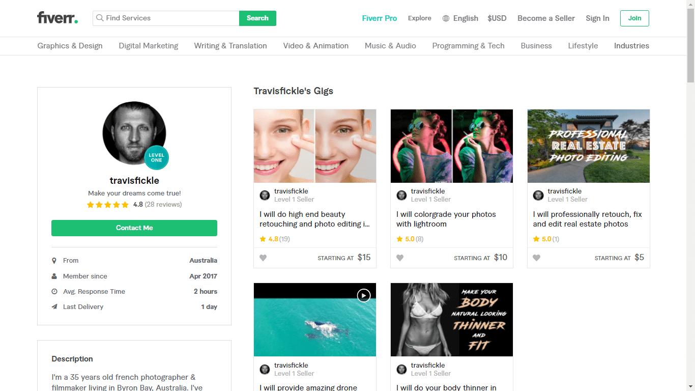 Fiverr screenshot - Travisfickle full profile