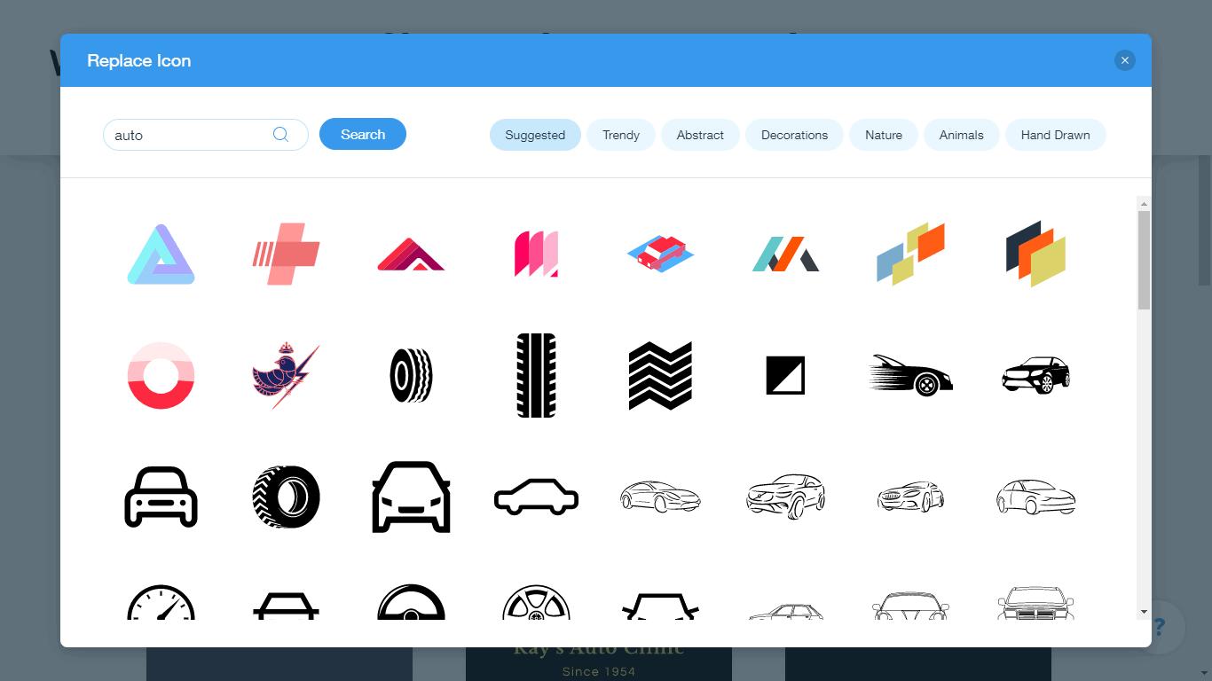 Wix Logo Maker screenshot - auto icons