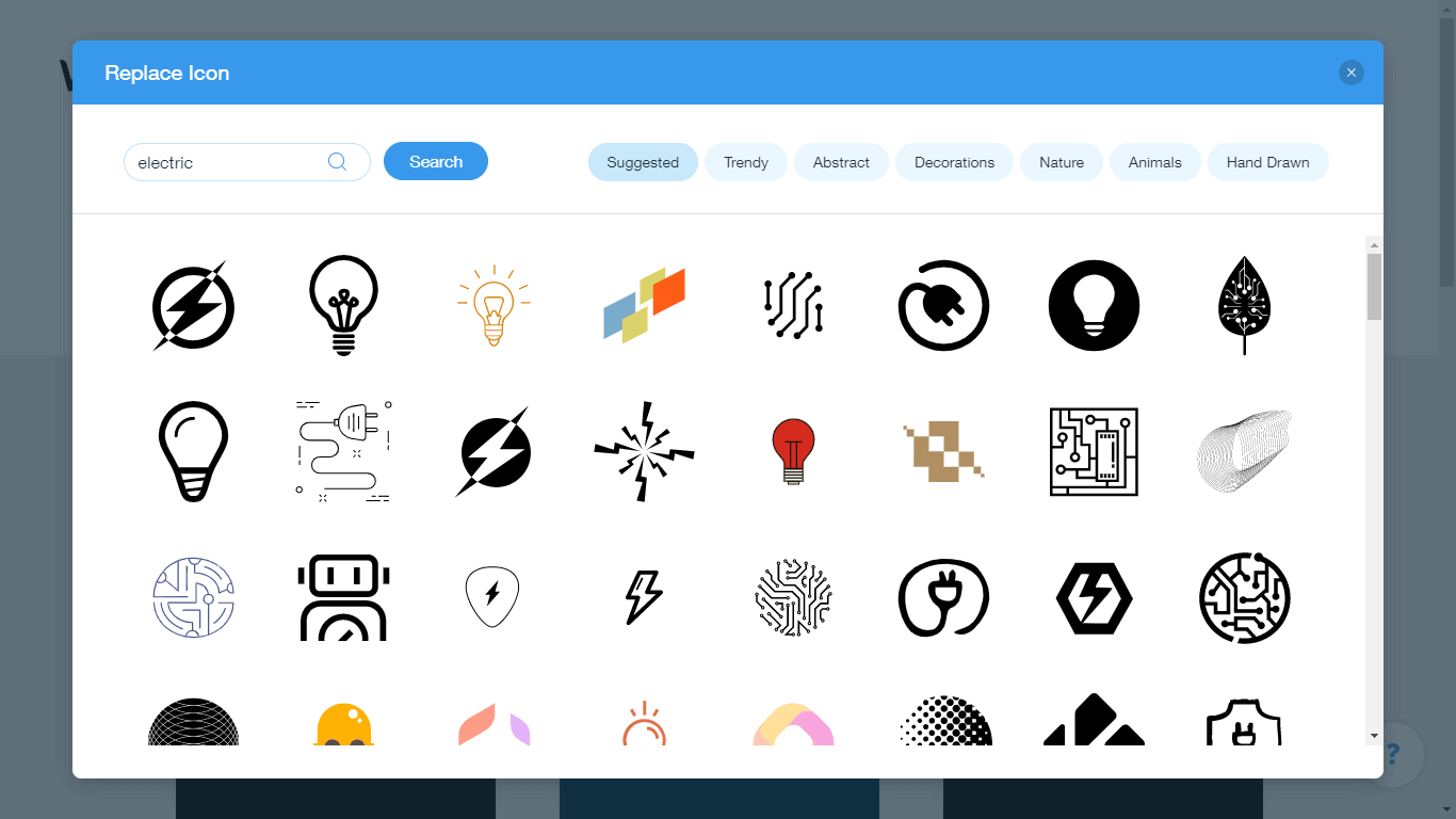 Wix Logo Maker screenshot - electric icons