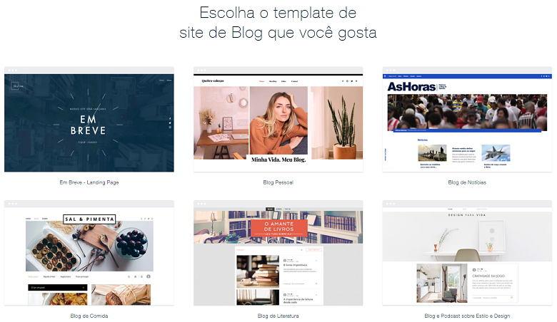 Wix's selection of blog templates