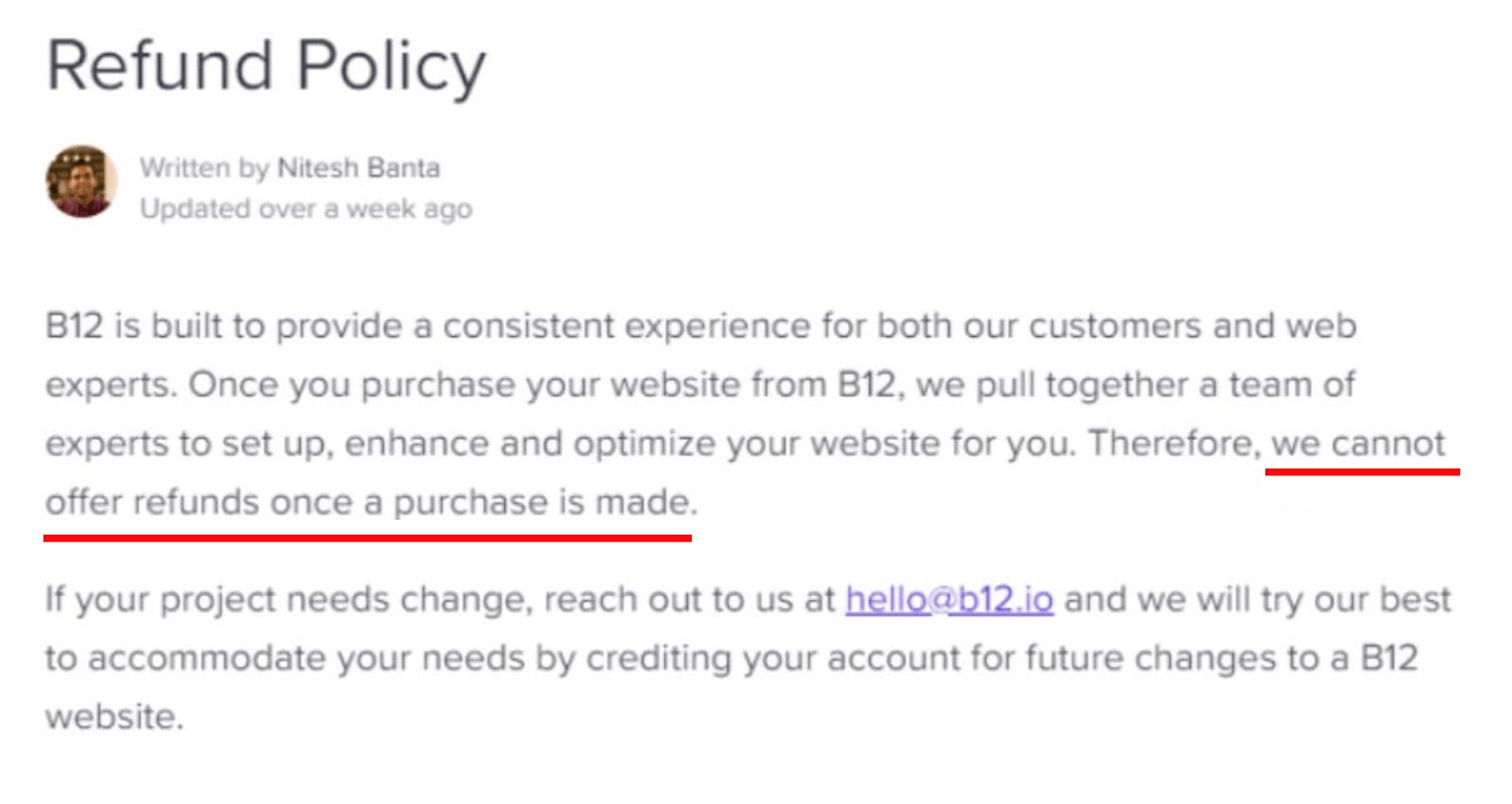B12 Refund Policy