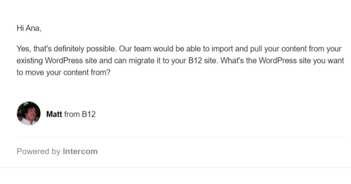 B12 Email Support