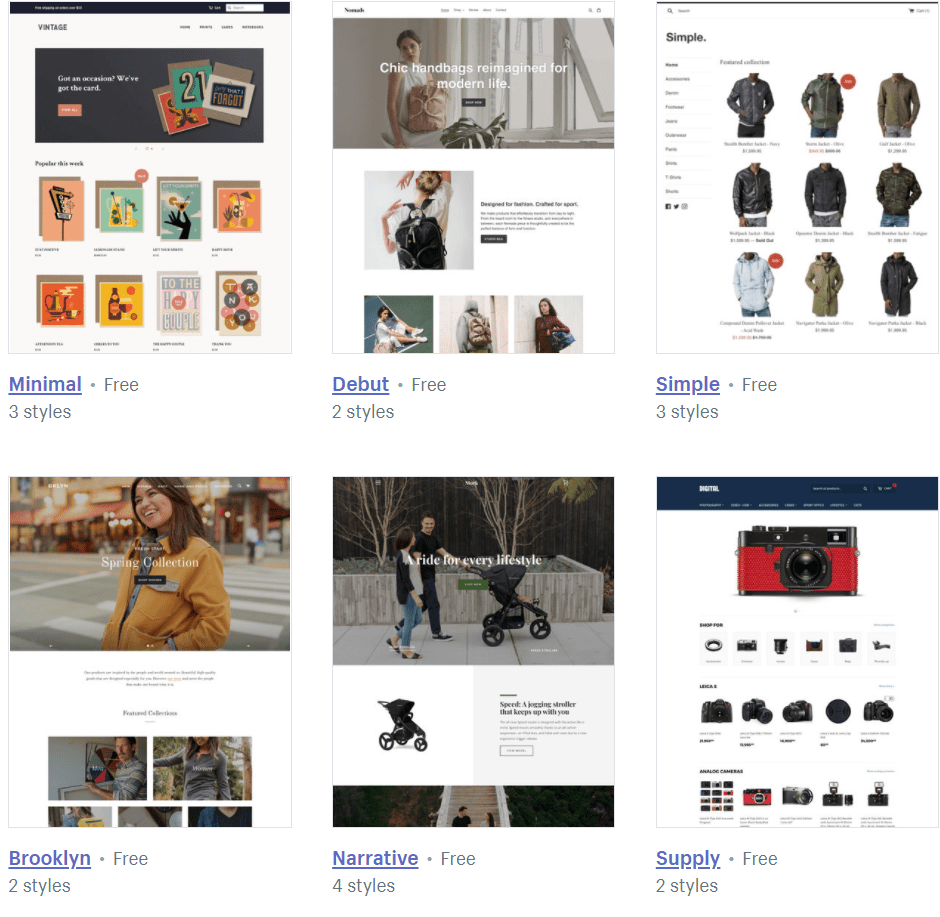 Templates available from the Shopify theme store