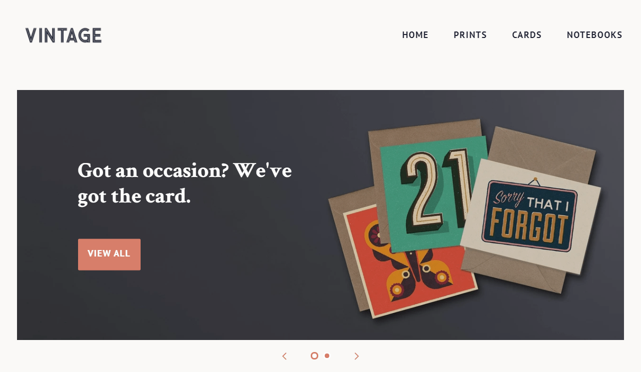 The vintage version of Shopify's Minimal theme