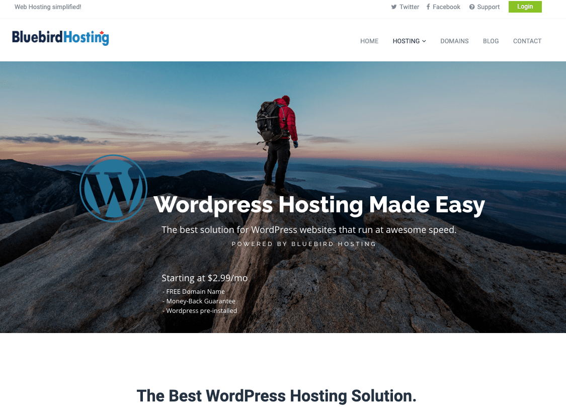 Bluebird Hosting WordPress
