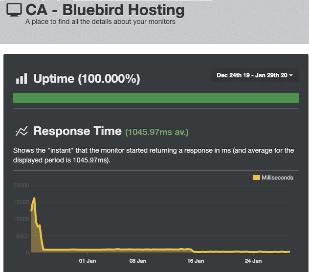 UptimeRobot results Bluebird Hosting