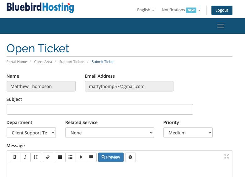 Bluebird Hosting ticket support