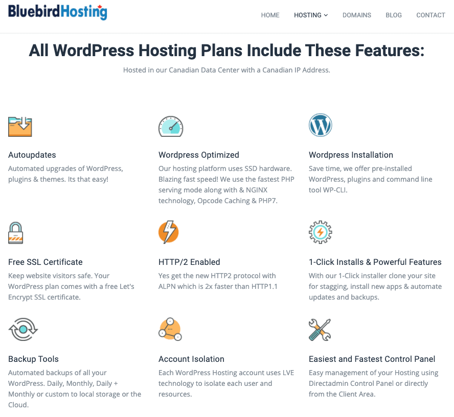 Bluebird Hosting features