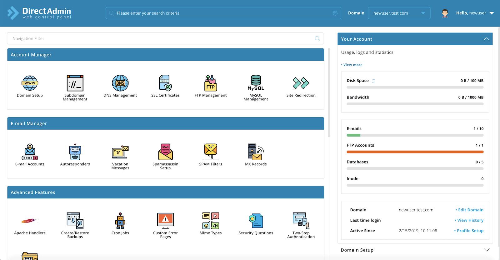 Bluebird Hosting DirectAdmin panel
