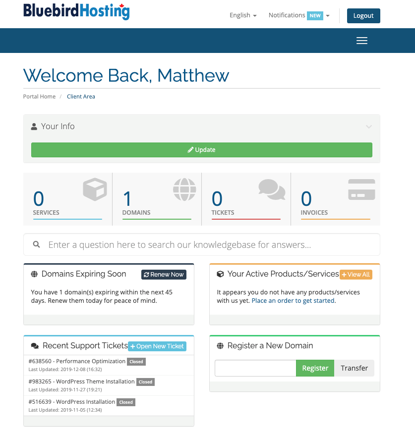 Bluebird Hosting account dashboard