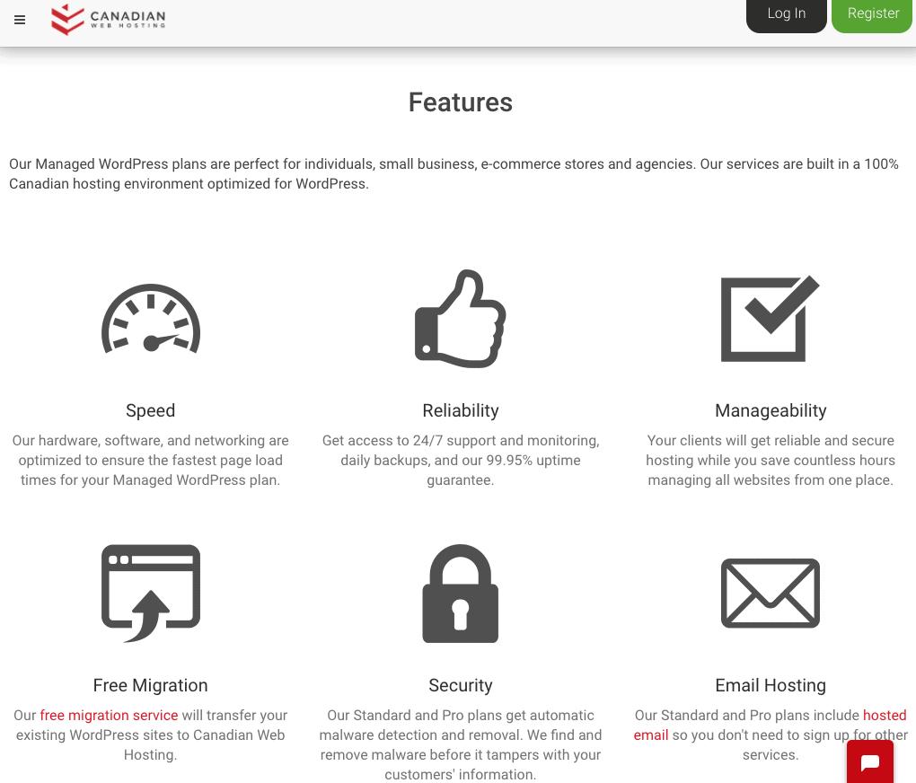 Canadian Web Hosting WordPress hosting