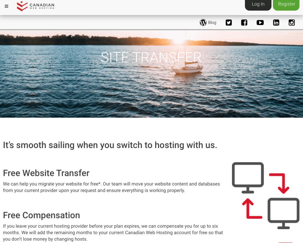 Canadian Web Hosting free transler