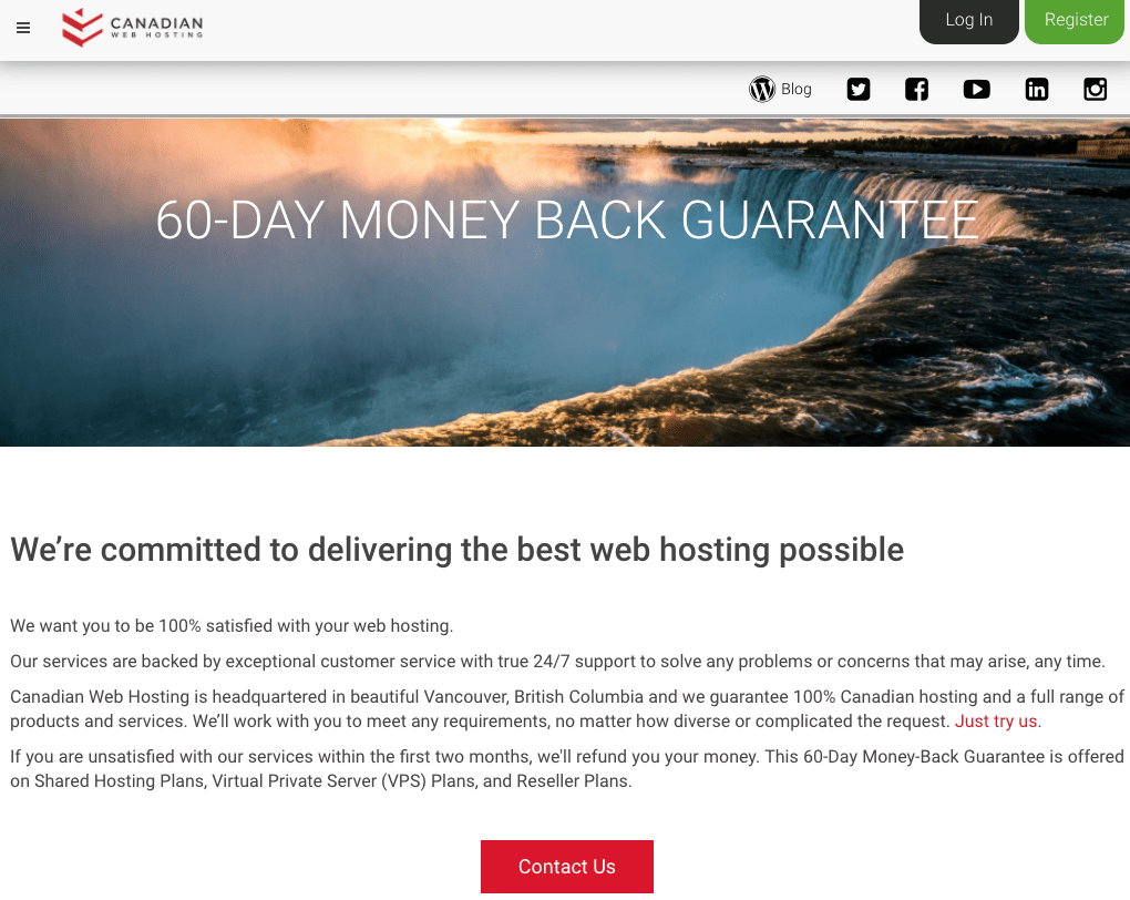 Canadian Web Hosting Money Back Guarantee
